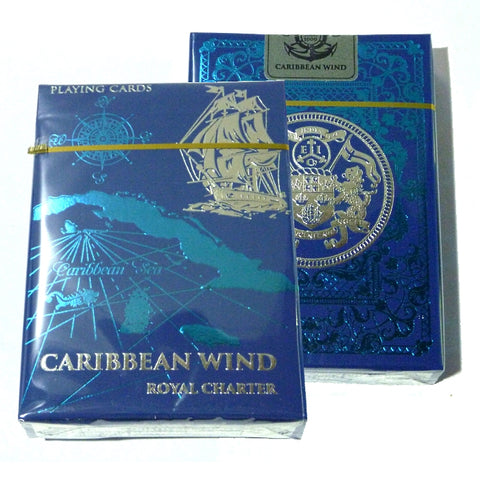 Caribbean Wind Playing Cards Royal Charter Edition Blue Metallic Ink