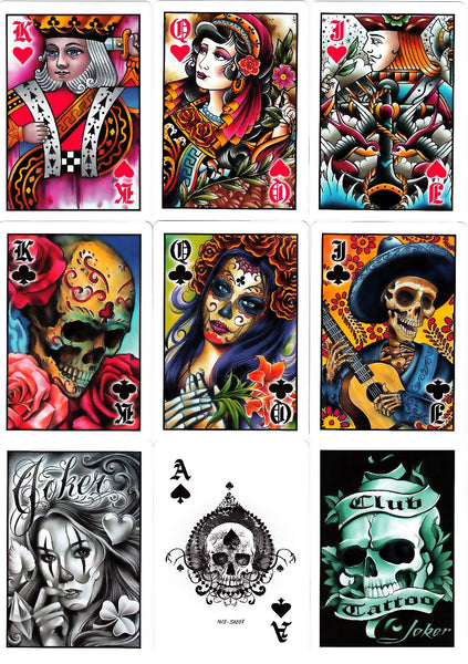 Buyworthy:Club Tattoo Blue Playing Cards Premium Artwork Poker Magic Deck Made in USA