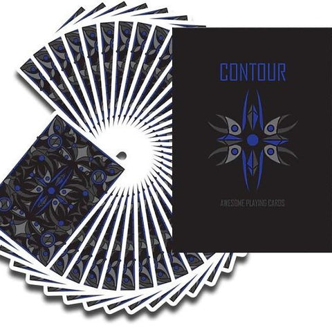 Contour Electric Blue Playing Cards Deck by Jason Nguyen