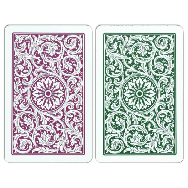 Copag 100% Plastic Playing Cards Bridge Size Burgundy Green 2-Deck Set