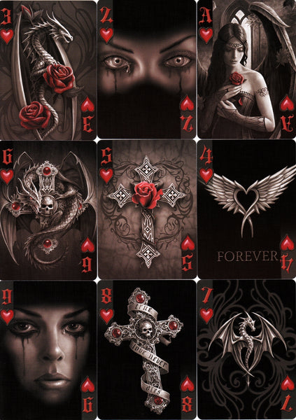 Anne Stokes Dark Hearts Playing Cards Fantasy ~ 3 Deck Collectors Set