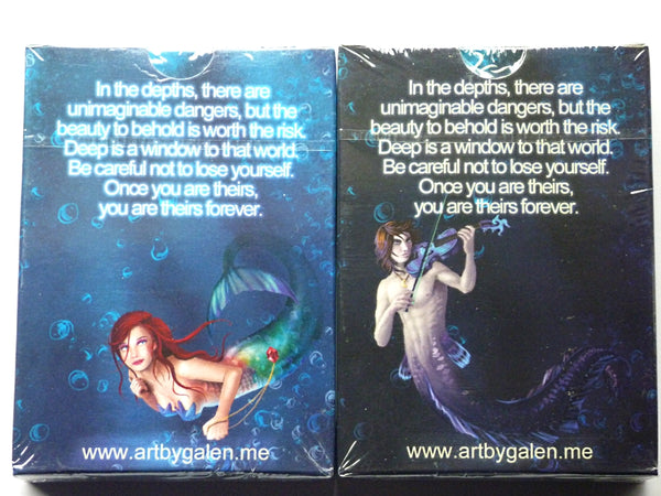 Deep Mermaid Playing Cards Rare Collectors Set 2 Decks + Signed Card