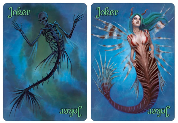 Deep Mermaid Playing Cards Rare Fantasy Deck + 2 Bookmarks