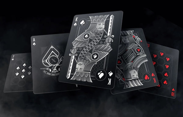 Double Black Playing Cards Set Classic & Limited Edition ~ 2 Decks 2 Chips