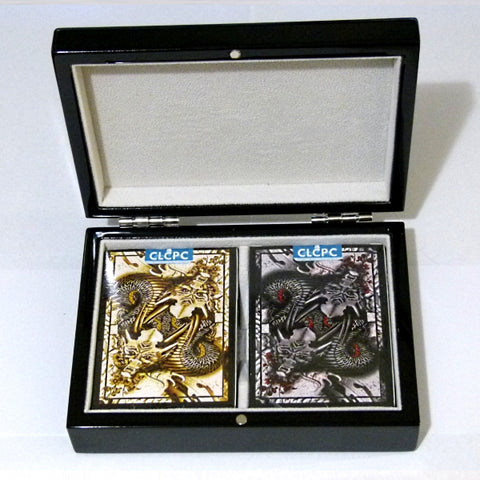 Dragon Series Playing Cards Gold & Black Gloss Wooden Box Set