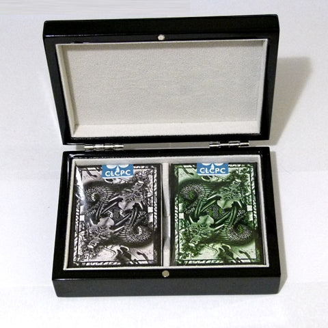 Dragon Series Playing Cards Silver Green Decks Wooden Box