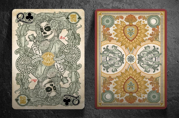El Recuerdo Muertos Playing Cards Mexican Deck Red Edition