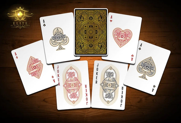 Premium Elite Gold Playing Cards Sealed in a Impossible Glass Bottle AIP
