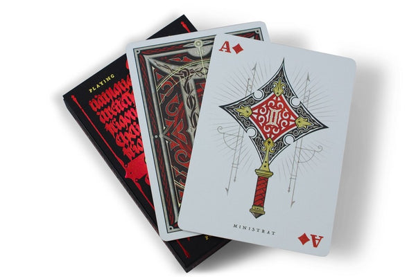 Gemini Terra Ignis Playing Cards Medieval Set 2 Decks +1 Sticker
