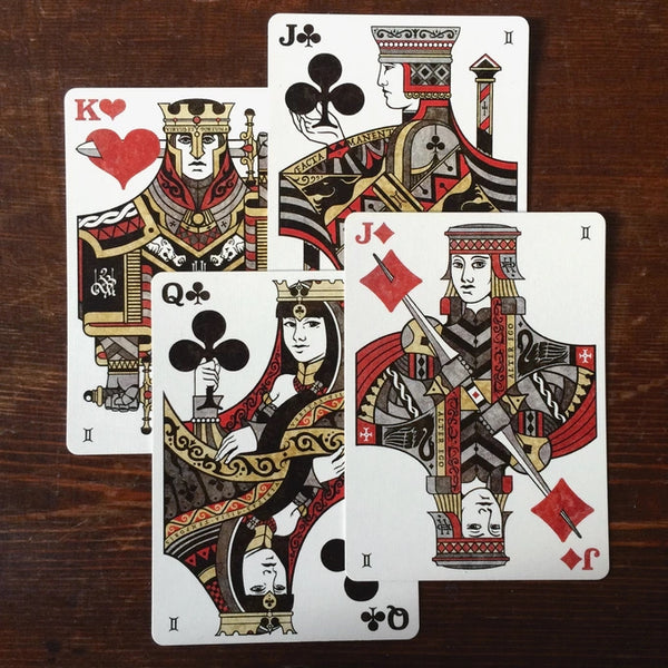 Gemini Playing Cards Decks Luxury Black Gloss Wooden Box