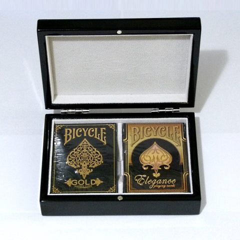 Gold Playing Cards Elegance Luxury Black Gloss Wooden Box Set