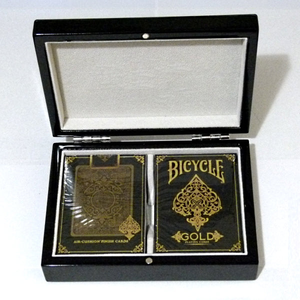 Gold Elite Playing Cards Decks Luxury Black Gloss Wooden Box
