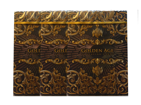 Golden Age Playing Cards Luxury Gold Embossed ~ 3 Deck Collectors Set