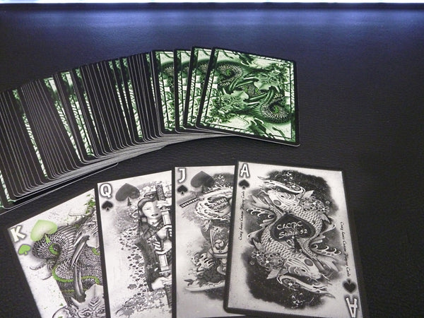 Dragon Series Playing Cards Silver Green Decks Black Gloss Wooden Box