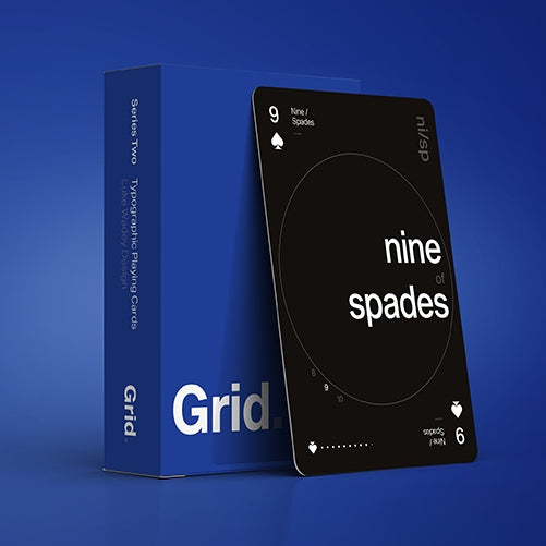 Grid Playing Cards Series Two Blue 2nd Edition Typography ~ Signed Deck