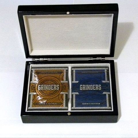 Grinders Playing Cards Decks Foil Black Gloss Wooden Box Collectors Set