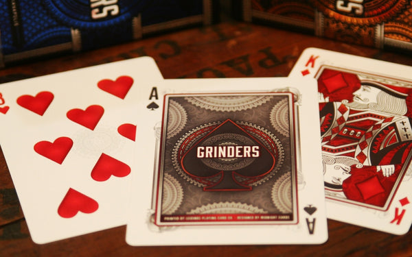 Buyworthy:Grinders Playing Cards Poker Deck Blue & Copper Metal Foil Finish ~ 2 Decks Set