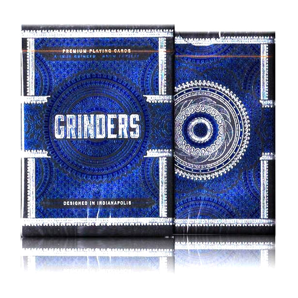 Grinders Playing Cards Poker Deck Blue Edition Metal Foil