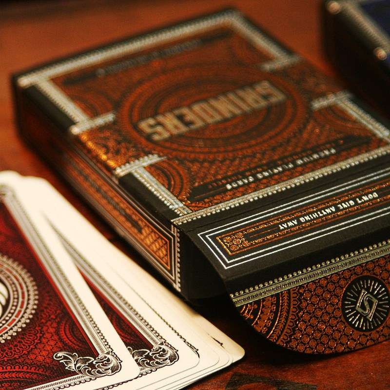 Grinders Playing Cards Poker Deck Copper & Silver Metal Foil Finish