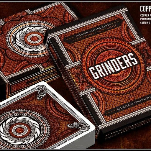 Buyworthy:Grinders Playing Cards Poker Deck Copper & Silver Metal Foil Finish Made in USA