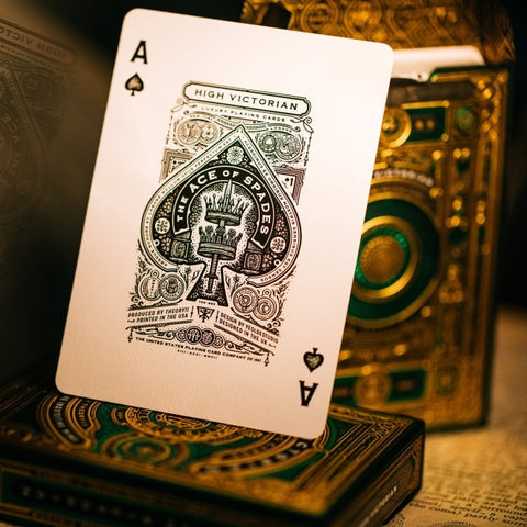 High Victorian Playing Cards Luxury Gold Green Foil Finish