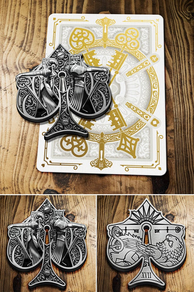 HRS Cartomancer Faro Playing Cards Collectors Set 2 Decks 1 Sticker 1 Silver Coin