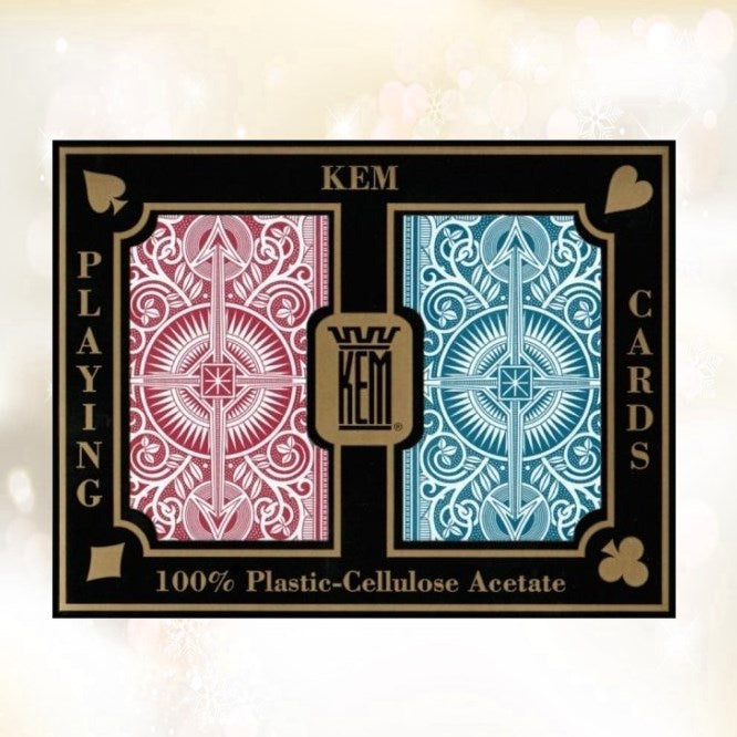 KEM Arrow Red Blue 100% Plastic Playing Cards Wide Poker Size