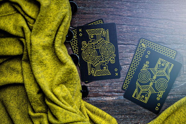 Bumble Bee Playing Cards Killer Bees Black Gloss Wooden Box