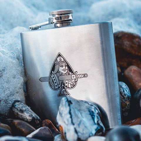King Slayer Hip Flask Rare Stainless Steel 6oz Hydrate your Playing Cards