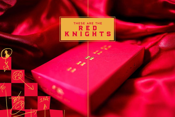 Knights Playing Cards Red and Gold Black Gloss Wooden Boxset