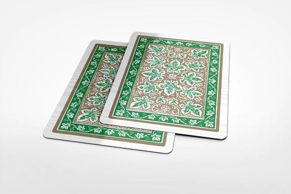 Gold Leaf Back Playing Cards Green & Red Bicycle Rare Editions ~ 2 Decks Set