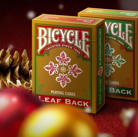 Buyworthy:Gold Leaf Back Playing Cards Green & Red Bicycle Rare Editions ~ 2 Decks Set