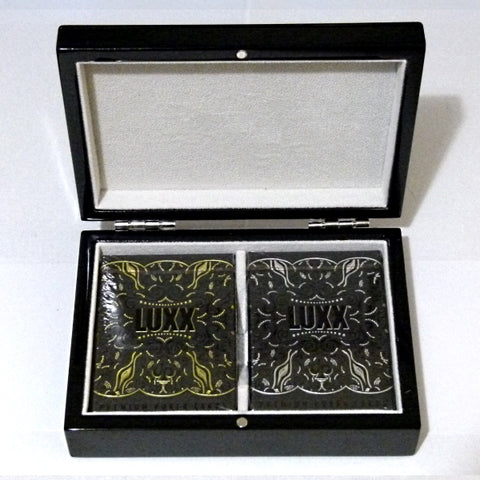 Luxx Gold & Silver Playing Cards Black Gloss Wooden Boxset