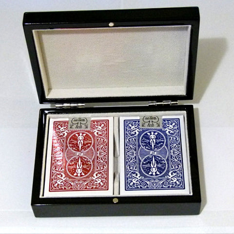 Metal Luxe Playing Cards Red & Blue Gloss Wooden Boxset