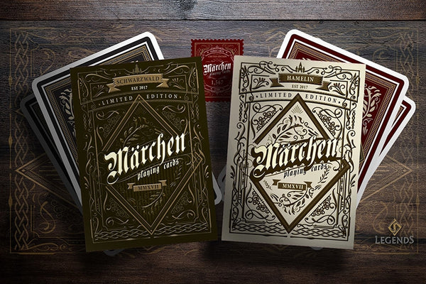 Marchen Playing Cards German Folk-law Gloss Wooden Black Boxset