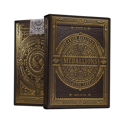 Medallions Playing Cards Black Gold Embossed Luxury Poker Deck