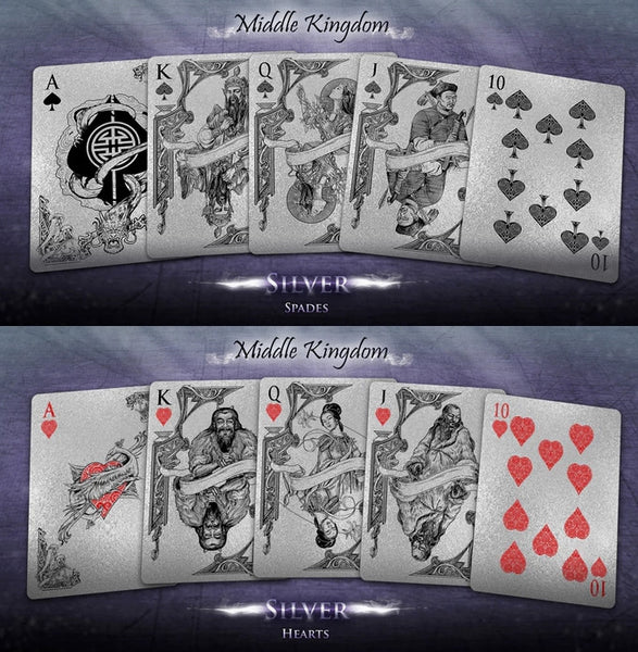 Buyworthy:Middle Kingdom Playing Cards Silver Edition Poker Magic Deck Ancient China New