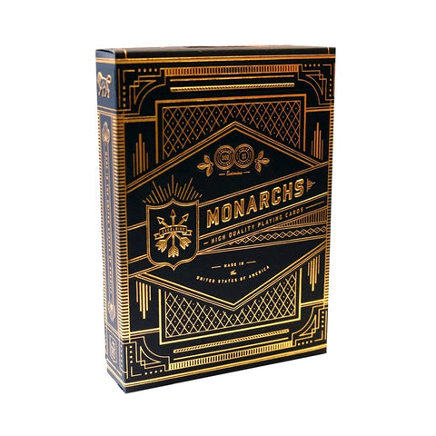 Monarchs Playing Cards Black Navy Blue Gold Embossed tuck by Theory 11