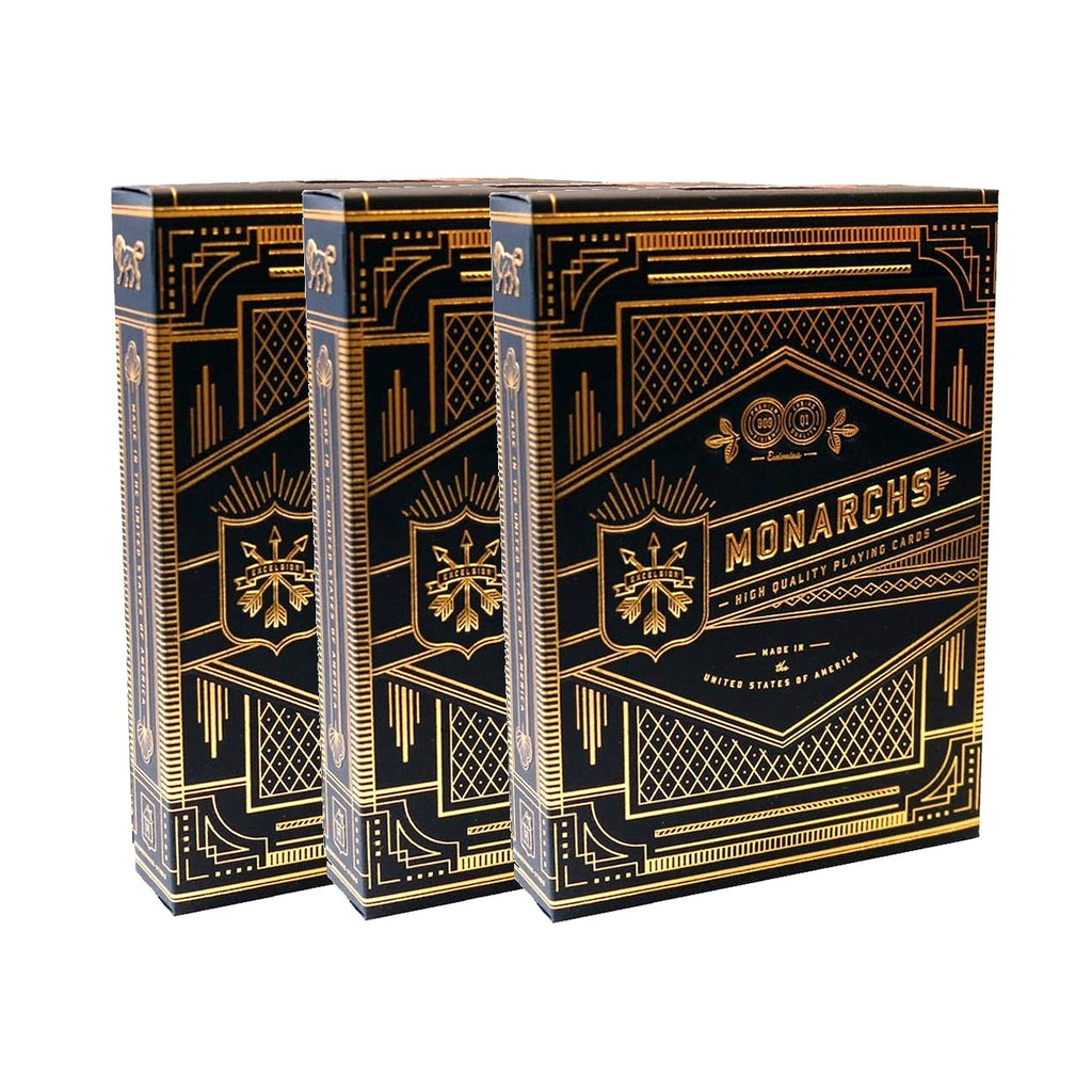 Monarchs Playing Cards Black Navy Blue by Theory 11 Gold 3-Deck Set