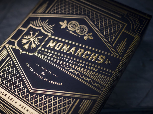 Monarchs Playing Cards Black & Gold 4 decks collectors pack
