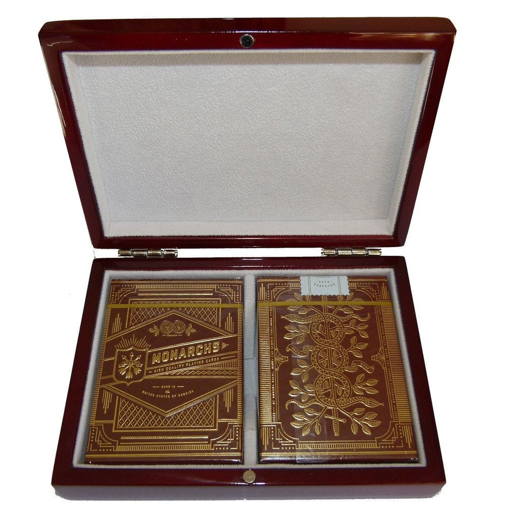 Buyworthy:Monarchs Red Royal Monarch Playing Cards Decks Wooden Box Gift Collectors Set