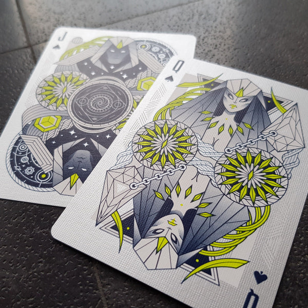 Monolith Playing Cards White Edition Metallic Silver & Neon inks by Thirdway