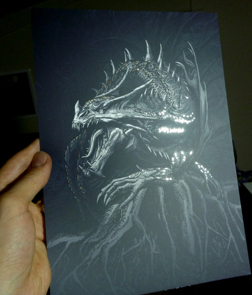 Nidhug Print Silver Foil Dragon Unframed 30x22cm from Ragnarok Playing Cards