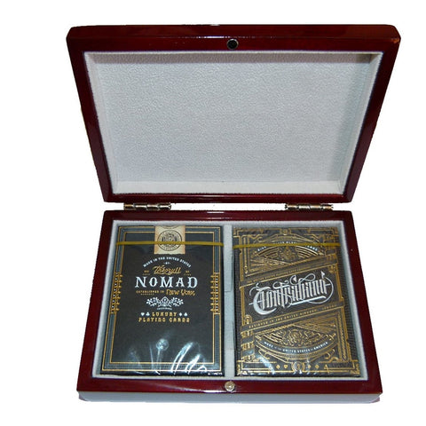 Nomad Contraband Theory 11 Playing Cards 2 Decks Wooden Box Collectors Set ~ New