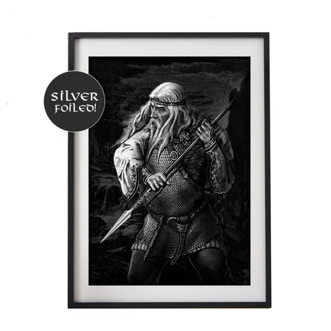 Odin Print Silver Foil Finish Unframed 30x22cm from Ragnarok Playing Cards