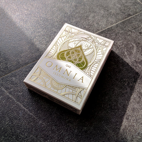 Omnia Illumina Playing Cards White & Gold Embossed Tuck Case