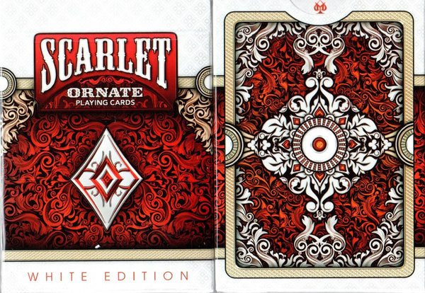 Buyworthy:Ornate Scarlet Playing Cards ~ White Edition ~ Rare Poker Magic Deck Made in USA