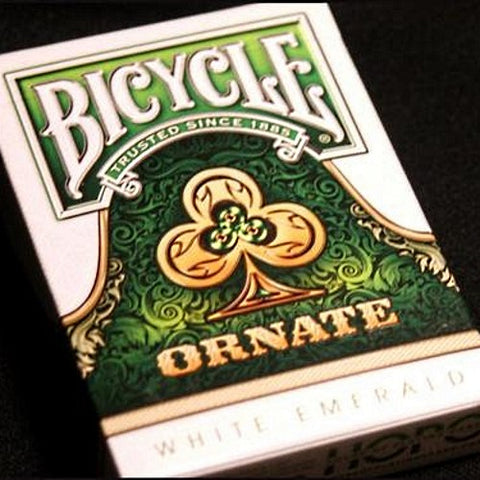 Ornate Emerald Playing Cards ~ White Edition ~ Rare Poker Magic Deck Made in USA