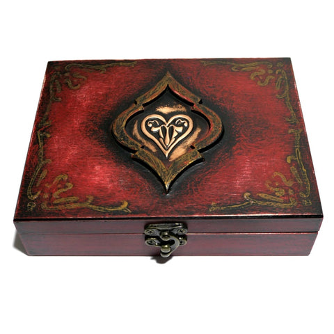 Playing Cards Rare Red Heart Wooden Box Holds 2-Decks Empty Hand Crafted