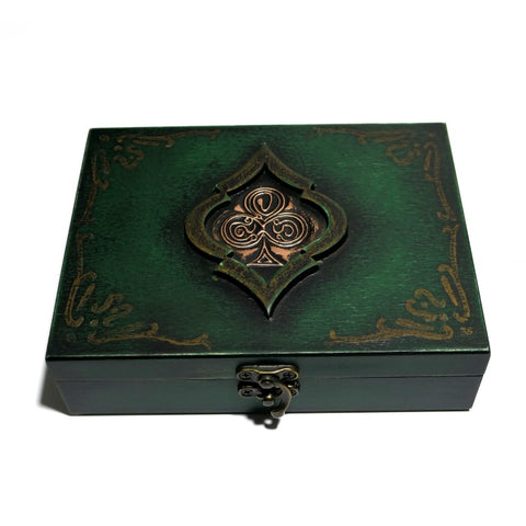 Playing Cards Rare Green Club Wooden Box Holds 2-Decks Empty Hand Crafted